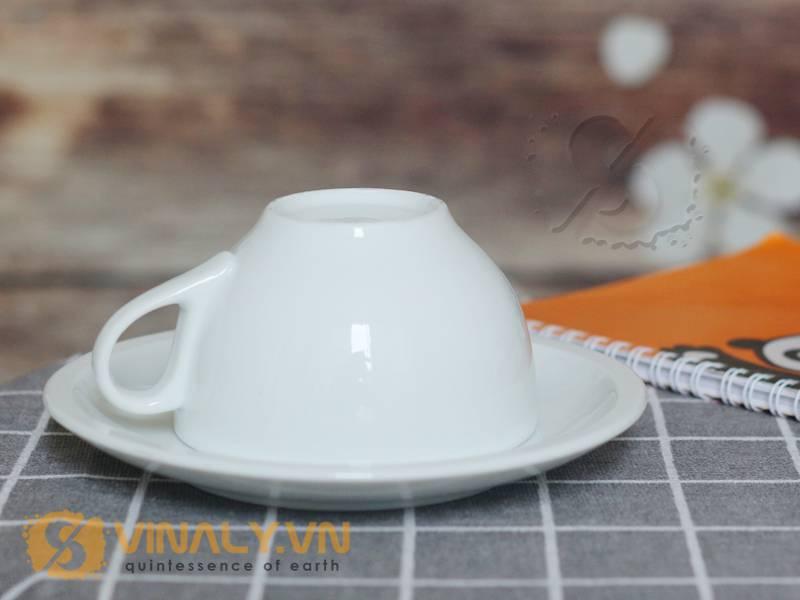 Ly cafe Cappuccino trắng 200ml đặt úp