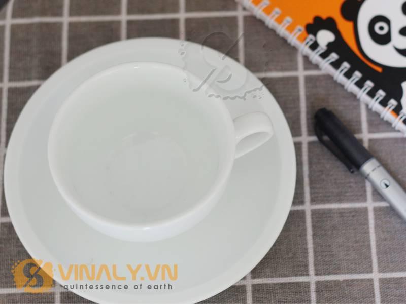 Phần miệng & khay của ly cafe Cappuccino trắng 200ml