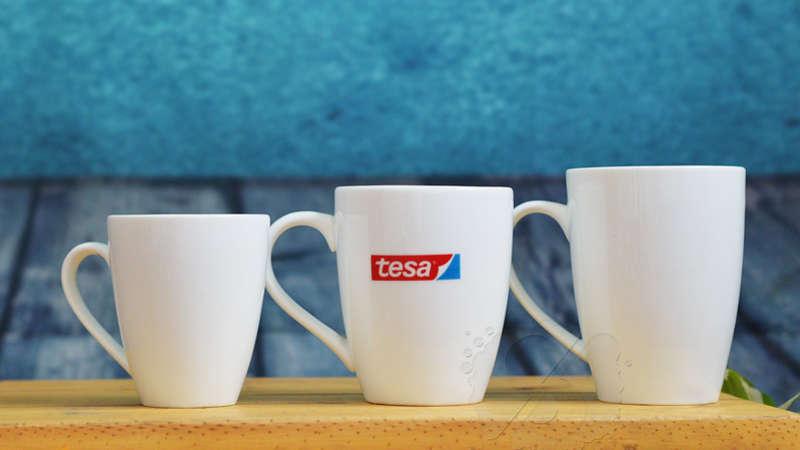 Ly sứ trắng bầu in logo doanh nghiệp co nhiều kích thước để khách hàng có thể thoải mái lựa chọn.