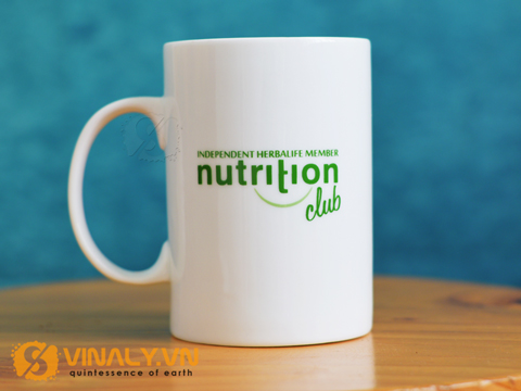 Ly sứ trắng trụ cao in logo Herbalife
