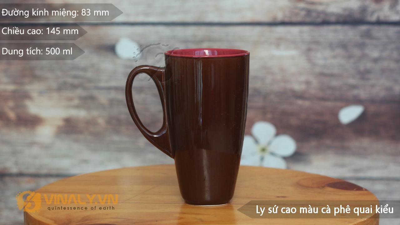 Thông số kỹ thuật ly sứ màu cafe quai kiểu