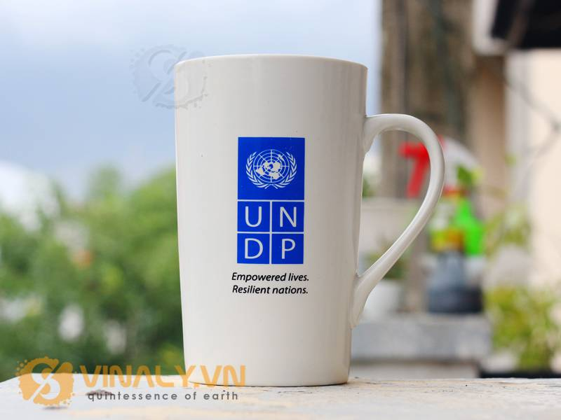 Ly sứ vinaly: Ly sứ in logo quà tặng của UNDP