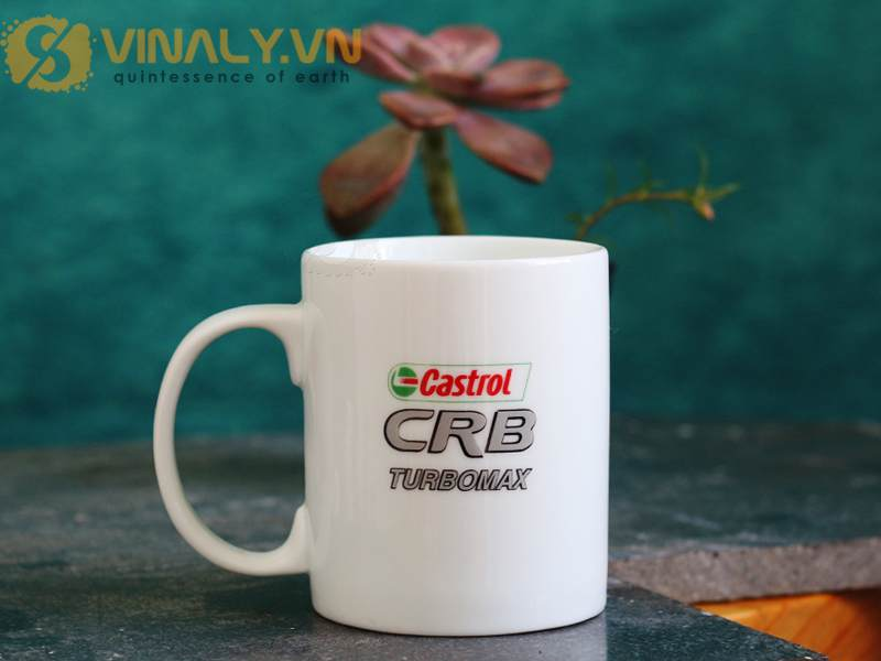 Ly sứ trắng trụ Vinaly cao cấp: Ly sứ in logo Castrol CRB TurboMax