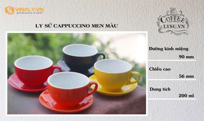 Kích thước của ly sứ Cappuccino men màu