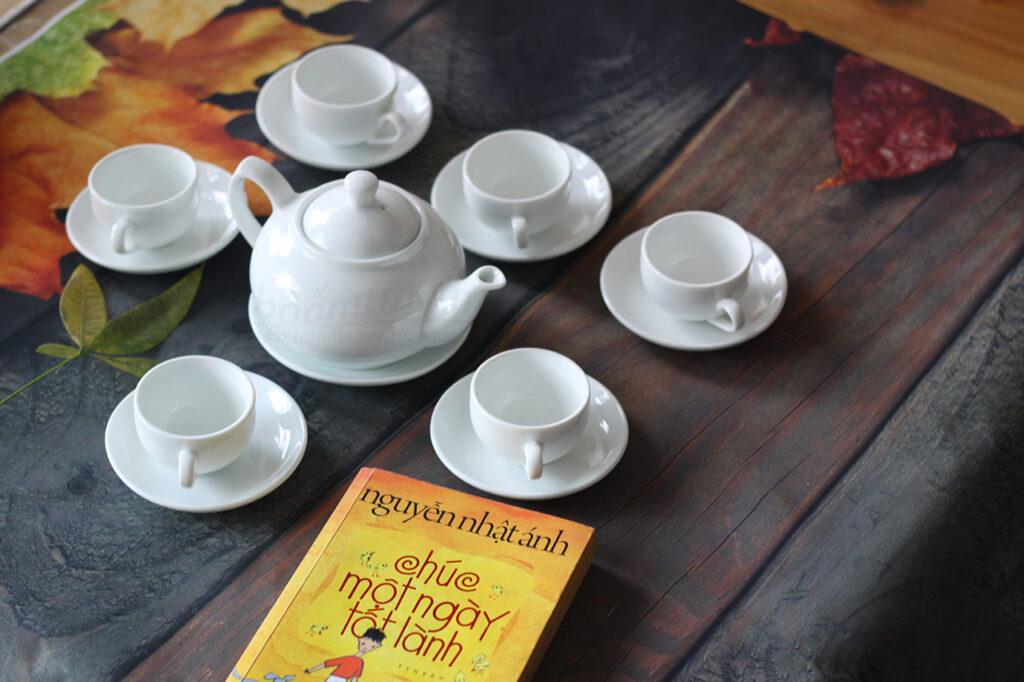 Bộ ấm trà bầu thấp Bát Tràng