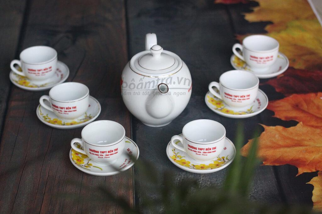 bộ ấm trà viền ánh kim