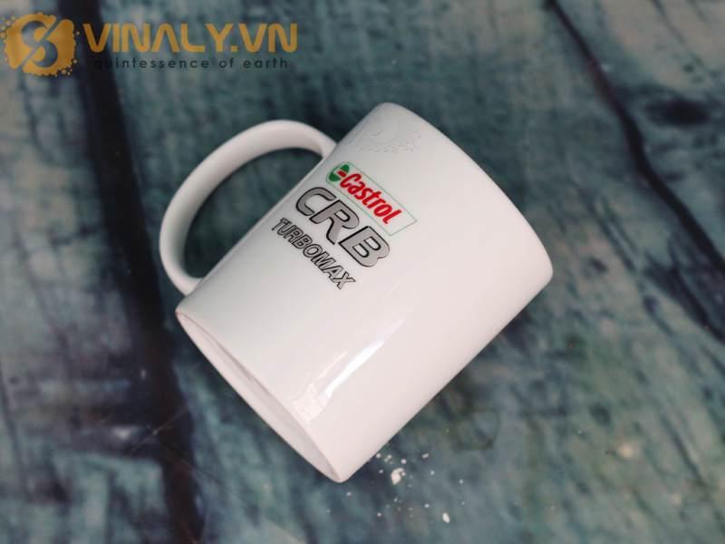 Ly sứ trắng in logo Castrol