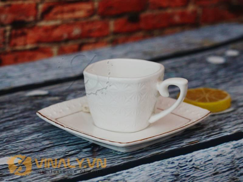Ly sứ cafe espresso đáy vuông