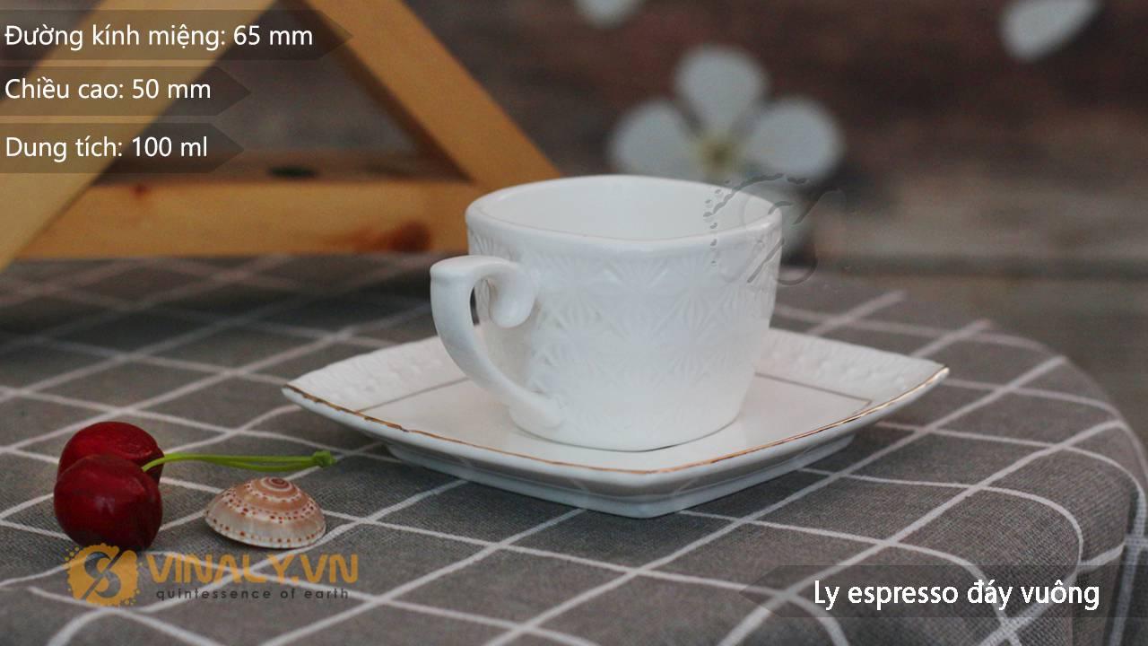 Thông số kỹ thuật ly Espresso đáy vuông