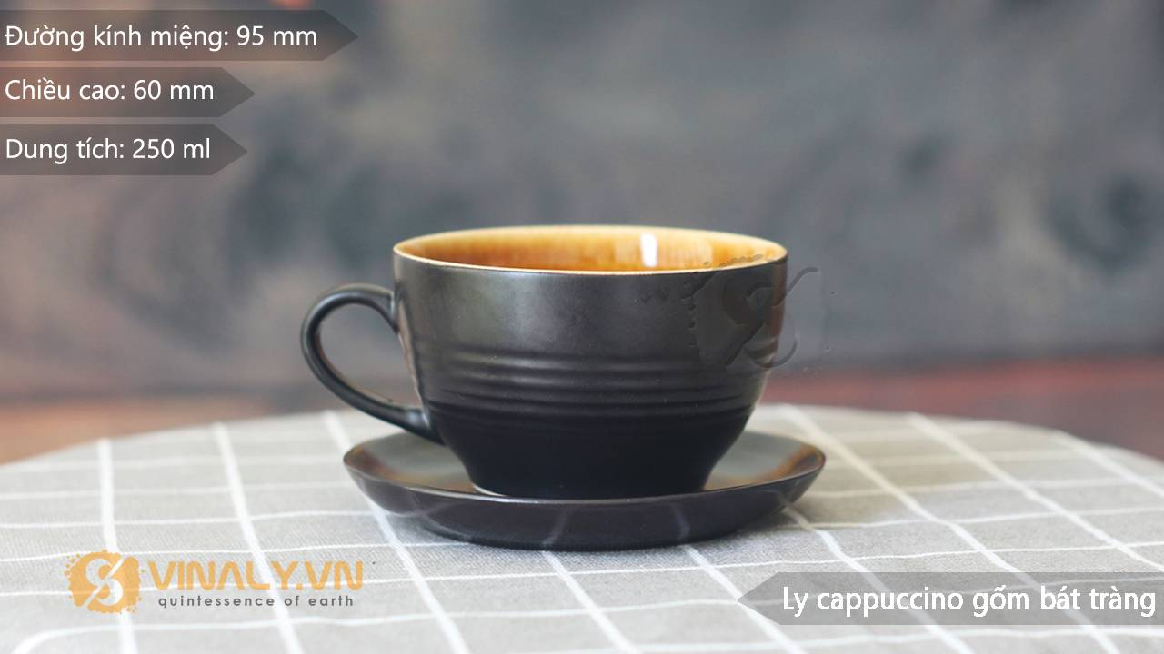 Ly sứ cafe cappuccino gốm đen