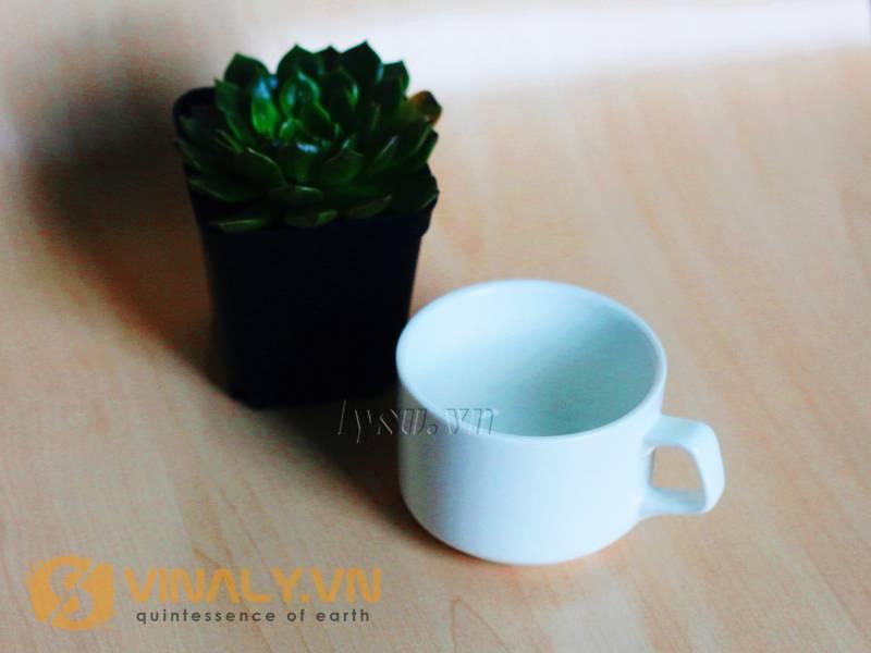 Thành phần cấu tạo độc đáo của dòng ly sứ cafe truyền thống quai vuông cỡ nhỏ