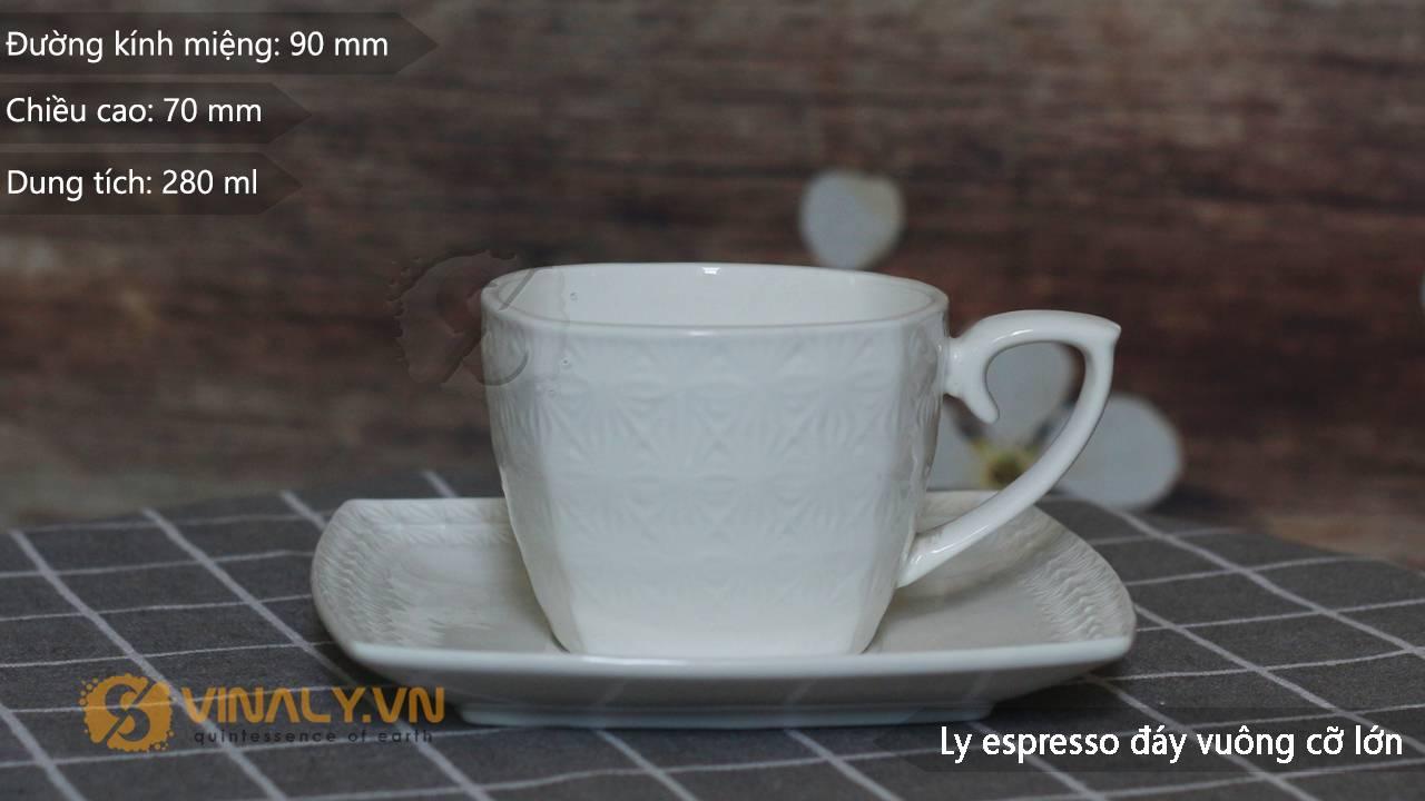 Kích thước của ly sứ cafe đáy vuông size l