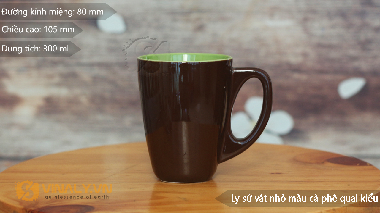 Thông số kỹ thuật ly sứ vát nhỏ màu cafe quai kiểu