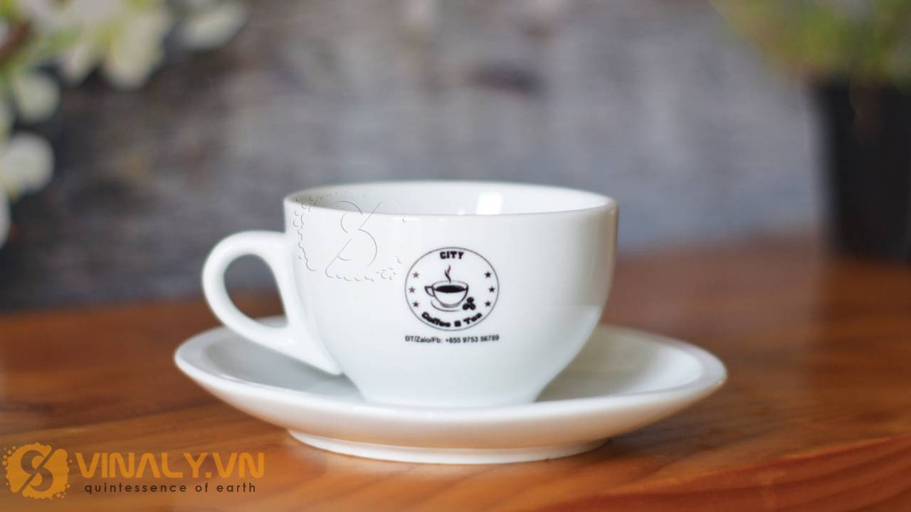 Ảnh ly cafe Cappuccino trắng in logo City coffee