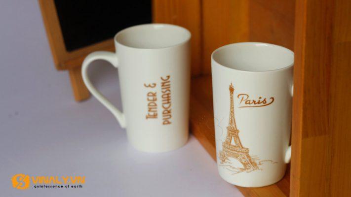 Ly sứ trắng vát men mát 420ml in hình tháp Eiffel-Paris