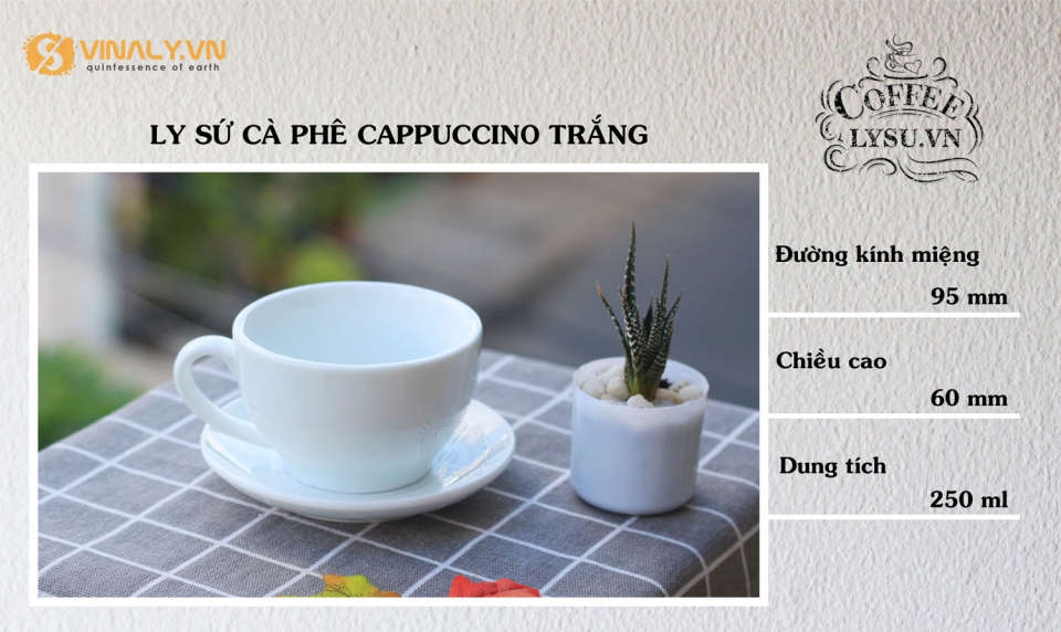Ly cafe capuccino trắng 250ml