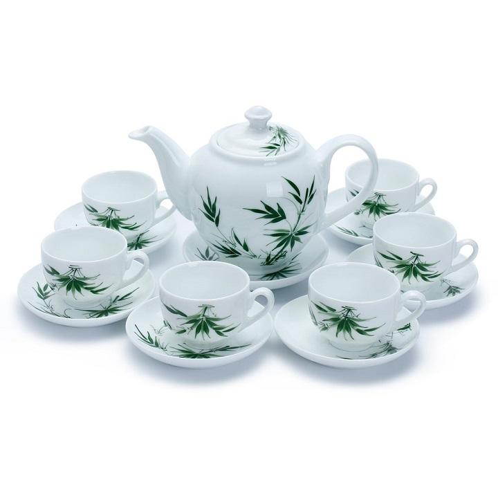 Bộ ấm trà sứ hình trúc