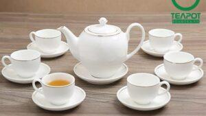 Bộ ấm trà hoàng kim tráng sứ