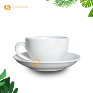 Ly cafe cappuccino trắng mặt trước