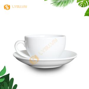 Ly sứ cafe cappuccino trắng 250ml mặt trước